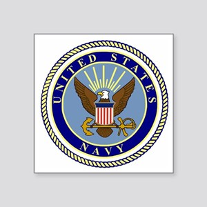 "Navy-Logo-9 Square Sticker 3"" x 3"""