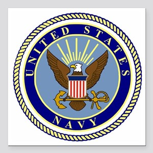 "Navy-Logo-9 Square Car Magnet 3"" x 3"""