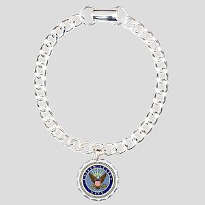 Navy-Logo-9 Charm Bracelet, One Charm