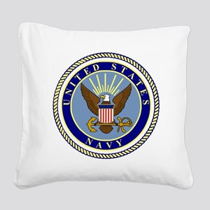 Navy-Logo-9 Square Canvas Pillow