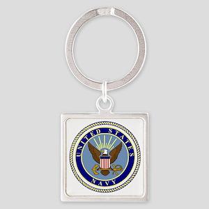 Navy-Logo-9 Square Keychain