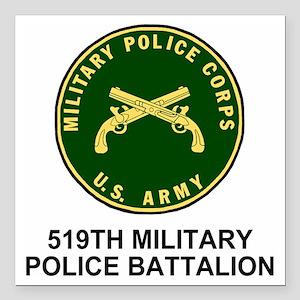 "Army-519th-MP-Bn-Shirt-4 Square Car Magnet 3"" x 3"""