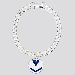 Navy-PO3-Whites-For-Cup. Charm Bracelet, One Charm