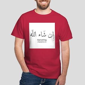 God Willing Insha'Allah Arabic Dark T-Shirt