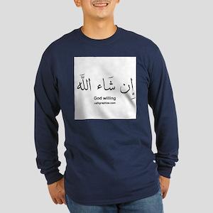 God Willing Insha'Allah Arabic Long Sleeve Dark T-