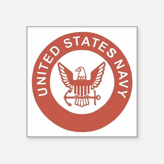 "Navy-Logo-13-Salmon.gif Square Sticker 3"" x 3"""