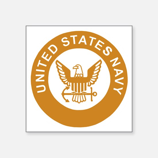 "Navy-Logo-13-Gold.gif Square Sticker 3"" x 3"""
