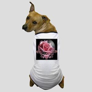 Pink Rose Globe Dog T-Shirt