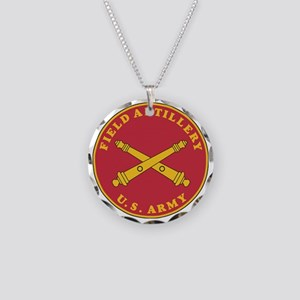 Army-Artillery-Branch-Plaque Necklace Circle Charm