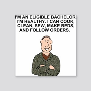 "Army-Humor-Eligible-Bachelo Square Sticker 3"" x 3"""