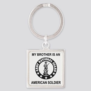 ARNG-My-Brother-Black Square Keychain