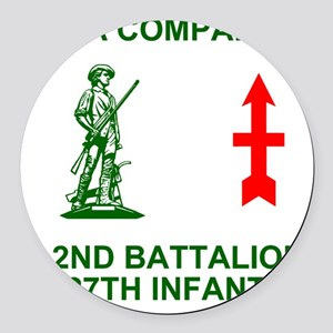 ARNG-127th-Infantry-A-Co-Shirt-4- Round Car Magnet