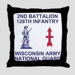 ARNG-128th-Infantry-2nd-Bn-Shirt-4-Bl Throw Pillow