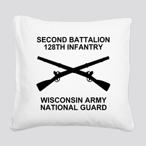 ARNG-128th-Infantry-2nd-Bn-Sh Square Canvas Pillow