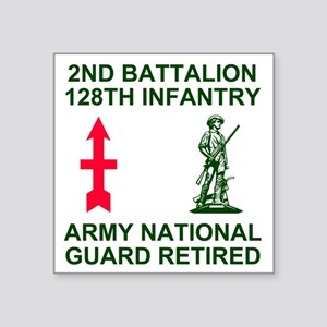 "ARNG-128th-Infantry-2nd-Bn- Square Sticker 3"" x 3"""