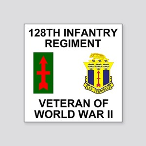 "ARNG-128th-Infantry-WWII-Ve Square Sticker 3"" x 3"""