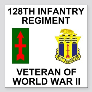 "ARNG-128th-Infantry-WWII Square Car Magnet 3"" x 3"""