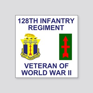 """ARNG-128th-Infantry-WWII-Ve Square Sticker 3"""" x 3"""""""