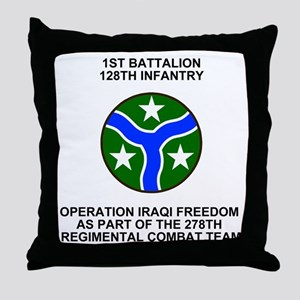 ARNG-128th-Infantry-1st-Bn-Iraq-Shirt Throw Pillow