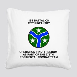 ARNG-128th-Infantry-1st-Bn-Ir Square Canvas Pillow