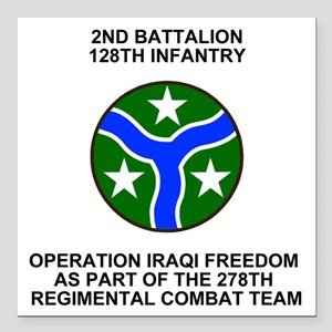 "ARNG-128th-Infantry-2nd- Square Car Magnet 3"" x 3"""
