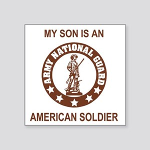 "ARNG-My-Son-Brown Square Sticker 3"" x 3"""