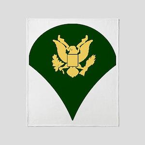 Army-Spec4-White-Cap Throw Blanket