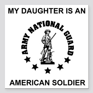 "ARNG-My-Daughter Square Car Magnet 3"" x 3"""