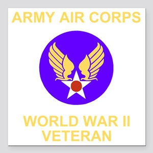 "AAC-Veteran-Black Square Car Magnet 3"" x 3"""