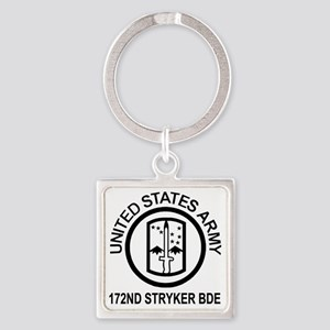Army-172nd-Stryker-Bde-Shirt-Blk-W Square Keychain