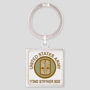 Army-172nd-Stryker-Bde-Shirt-Brn-K Square Keychain