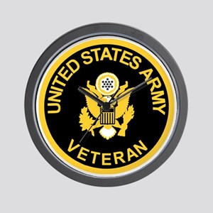 Army-Veteran-Black-Gold Wall Clock