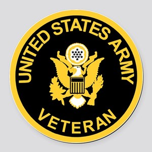 Army-Veteran-Black-Gold Round Car Magnet