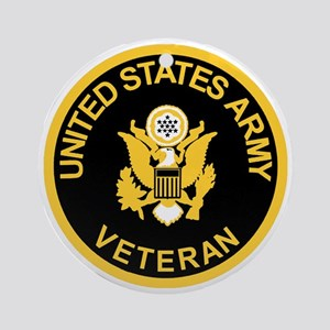 Army-Veteran-Black-Gold Round Ornament
