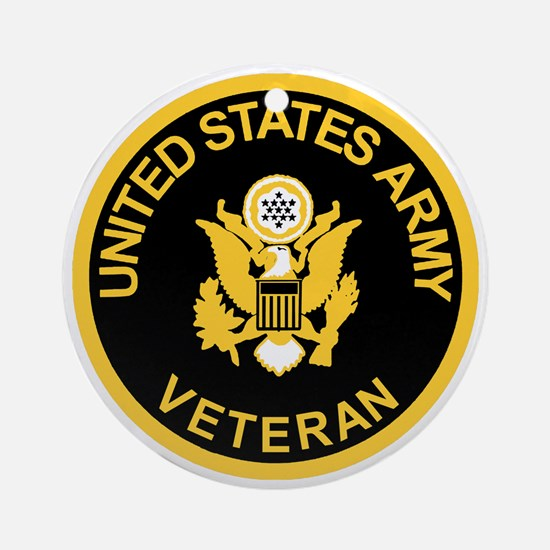 Army-Veteran-Black-Gold.gif Round Ornament
