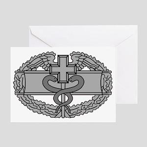 Army-Combat-Medical-Badge-Black-Shir Greeting Card