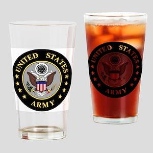 Army-Emblem-3-Black-Silver Drinking Glass