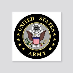 "Army-Emblem-3-Black-Silver. Square Sticker 3"" x 3"""