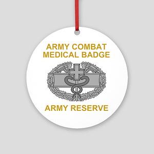 USAR-Combat-Medical-Badge-Black-Shi Round Ornament