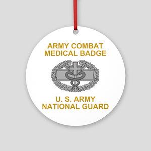 ARNG-Combat-Medical-Badge-Black-Shi Round Ornament