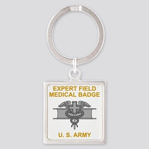 Army-Expert-Field-Medical-Badge-Bl Square Keychain