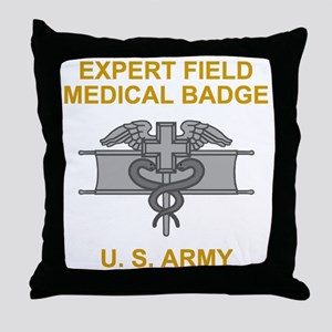 Army-Expert-Field-Medical-Badge-Black Throw Pillow