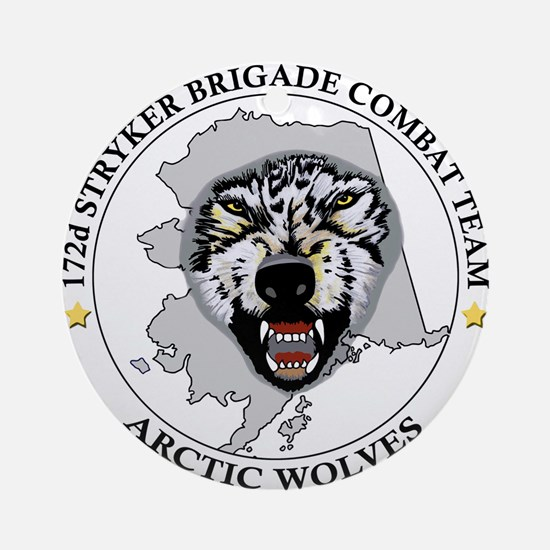 Army-172nd-Stryker-Bde-Arctic-Wolve Round Ornament