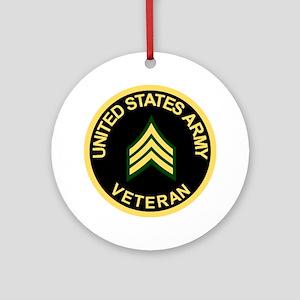 Army-Veteran-Sgt-Black Round Ornament