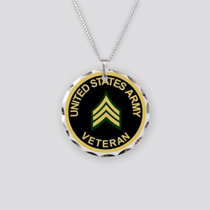 Army-Veteran-Sgt-Black Necklace Circle Charm
