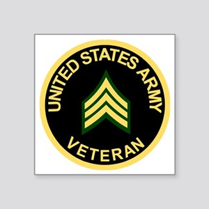 "Army-Veteran-Sgt-Black Square Sticker 3"" x 3"""