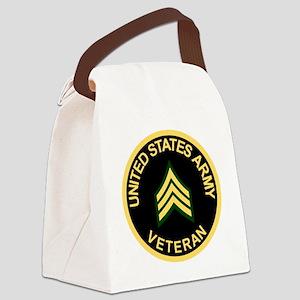 Army-Veteran-Sgt-Black Canvas Lunch Bag