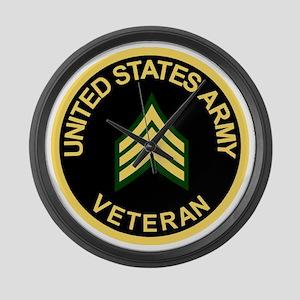 Army-Veteran-Sgt-Black Large Wall Clock