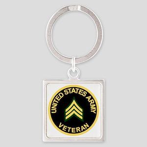 Army-Veteran-Sgt-Black Square Keychain