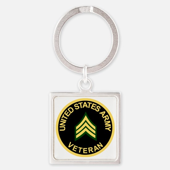 Army-Veteran-Sgt-Black.gif Square Keychain